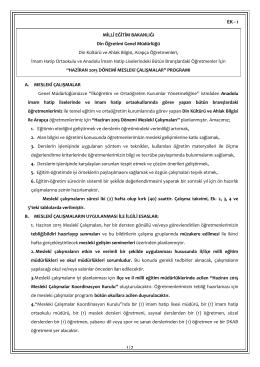 Mesleki Çalışmalar - Ankara İl Milli Eğitim Müdürlüğü