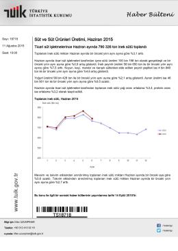 Süt ve Süt Ürünleri Üretimi-(Haziran 2015-11.08.2015)