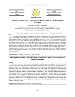 Bazı Yaygın Fiğ (Vicia sativa L.) Genotiplerinde Biyolojik Verim Ve