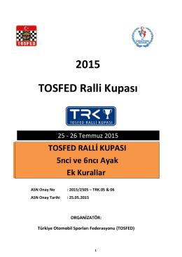 TOSFED Ralli Kupası Ek Kurallar