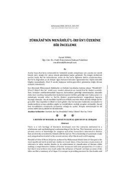 zürkânî`nin menâhilü`l-irfân`ı üzerine bir inceleme