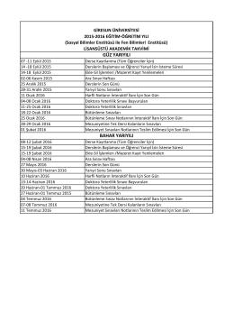 2015-2016 Akademik Takvimi