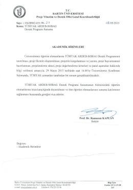 T.C. BARTIN ÜNİVERSİTESİ Proje Yönetim ve Destek Ofisi Genel