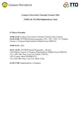 Çankaya Üniversitesi Teknoloji Transfer Ofisi TÜBİTAK TEYDEB