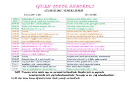 NİSAN AYI ayı yemek listesi