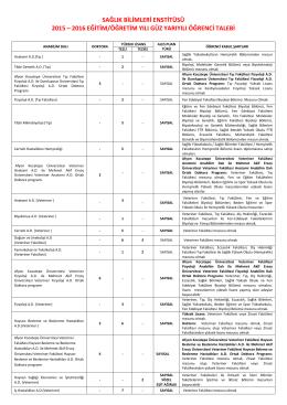 sağlık bilimleri enstitüsü 2015