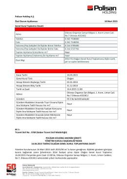 Polisan Holding A.Ş. Özel Durum Açıklaması 18 Mart 2015 Genel