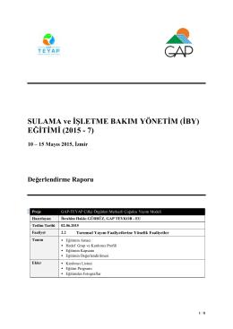 SULAMA ve İŞLETME BAKIM YÖNETİM (İBY) EĞİTİMİ (2015