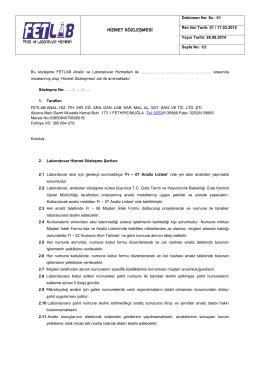 Sz-01 Hizmet Sözleşmesi - Fetlab Analiz ve Laboratuvar Hizmetleri