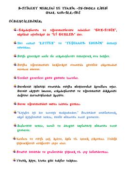 okul kuralları - ANKARA / YENİMAHALLE