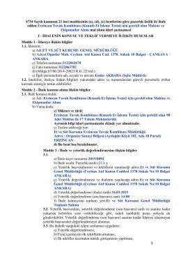 1 4734 Sayılı kanunun 21 inci maddesinin (a), (d