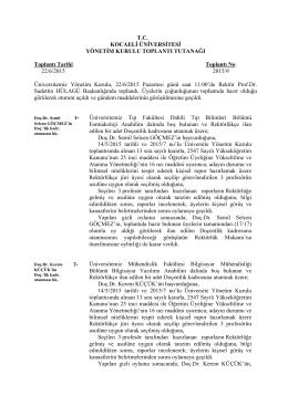 T.C. KOCAELİ ÜNİVERSİTESİ YÖNETİM KURULU TOPLANTI