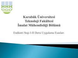 Endüstri stajı I-II dersi uygulama sunumu