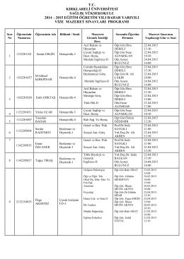 sınav takvimi - Sağlık Yüksekokulu