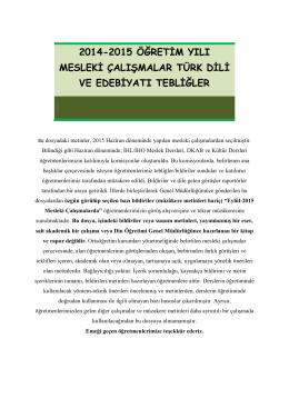 2014-2015 öğretim yılı mesleki çalışmalar türk dili ve edebiyatı
