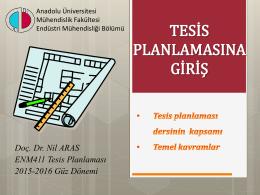 tesis planlaması - Endüstri Mühendisliği Bölümü