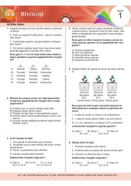 Biyoloji A Testleri Bolum 1 12 Test