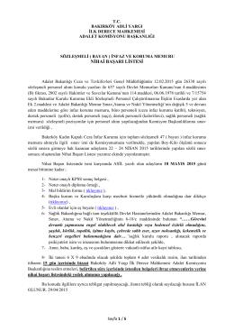 ( bayan ) infaz ve koruma memuru nihai başarı listesi 29/04/2015