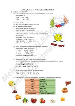 Asitler, Bazlar ve Tuzların Genel Özellikleri 1) Asitlerin Genel