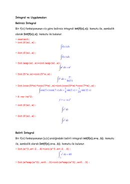 fonksiyonunun x`e göre belirsiz integrali int(f(x),x)