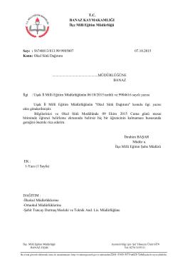 T.C. BANAZ KAYMAKAMLIĞI İlçe Milli Eğitim Müdürlüğü Sayı