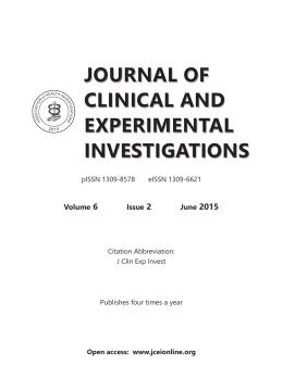 İçindekiler Dosyası - Klinik ve Deneysel Araştırmalar Dergisi