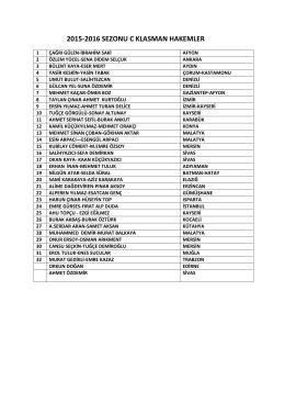 2015-2016 SEZONU C KLASMAN HAKEMLER