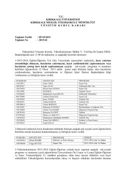 09.10.2015 Tarihli Yönetim Kurulu Kararı