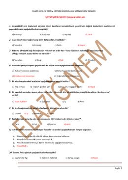 Sayfa 1 İŞ VE İNSAN İLIŞKILERI ÇALIŞMA SORULARI