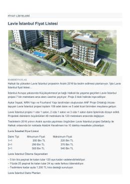Lavie İstanbul Fiyat Listesi
