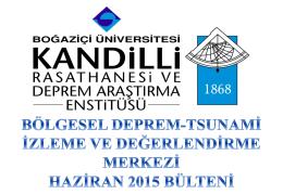 haziran_2015 - Kandilli Rasathanesi ve Deprem Araştırma Enstitüsü