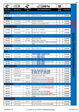 16-gnr mafsal istavrozu fiyat listesi 2015 ağustos