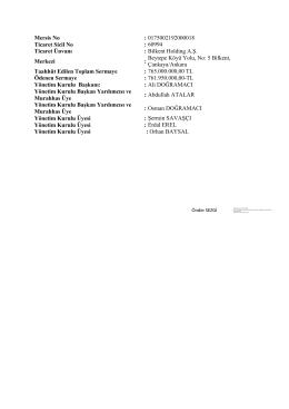Mersis No : 0175002192000018 Ticaret Sicil No