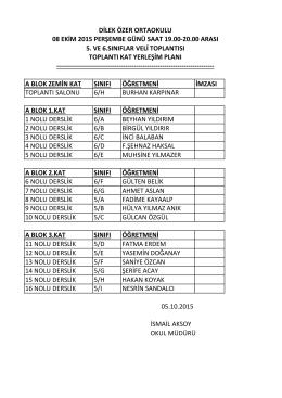 dilek özer ortaokulu 08 ekim 2015 perşembe günü saat 19.00
