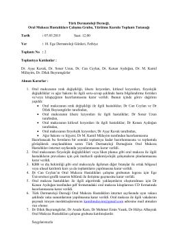 Kararlar - 2015/1 - Türk Dermatoloji Derneği