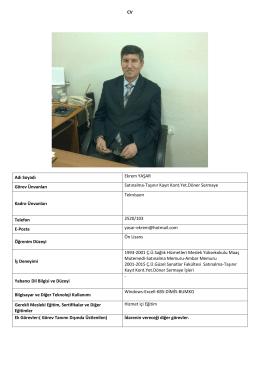 CV Adı Soyadı Ekrem YAŞAR Görev Ünvanları Satınalma