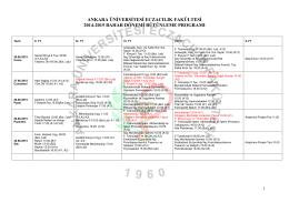 2014-2015 Eğitim Öğretim Yılı Bahar Yarıyılı BÜTÜNLEME