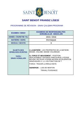 Physique - Saint Benoit Fransız Lisesi