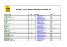 28th YAPI - TURKEYBUILD ANKARA 2015 EXHIBITOR LIST