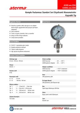 A300.xxx.ED6 A300G.xxx.ED6 Komple Paslanmaz Standart Seri