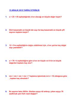 15 ARALIK 2015 TARİHLİ ETKİNLİK 1. a + 25
