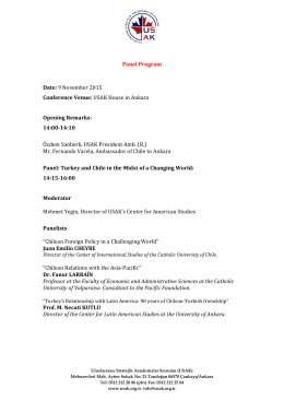 Panel Program Date: 9 November 2015 Conference Venue: USAK