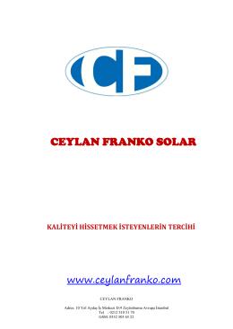 CEYLAN FRANKO SOLAR - Montaj ve Devreye Alma