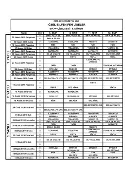 Bilfen Fen Liseleri 2015-2016 Öğretim Yılı 1.Dönem Sınav Takvimi
