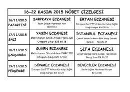 ŞİFA ECZANESİ 16-22 KASIM 2015 NÖBET ÇİZELGESİ