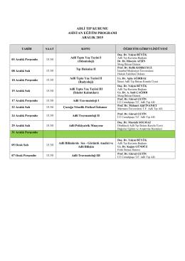 Aralık 2015 Asistan Eğitim Programı