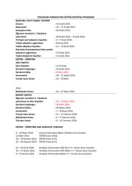 19 Aralık 2015 Başvurular : 1 - Pedagojik Formasyon Eğitimi