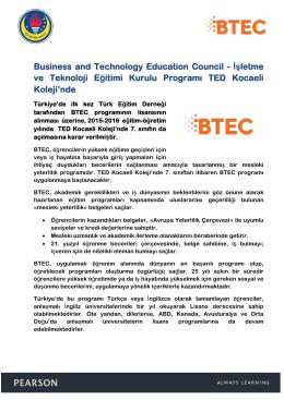BTEC - TED Kocaeli Koleji