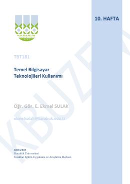 10.Hafta - E. Ekmel Sulak