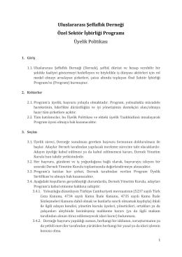Üyelik Politikası - Şeffaflık Derneği